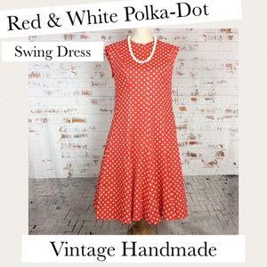 Red & White Polka-Dot Swing Dress